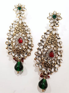 Red & Green Kundan Earrings