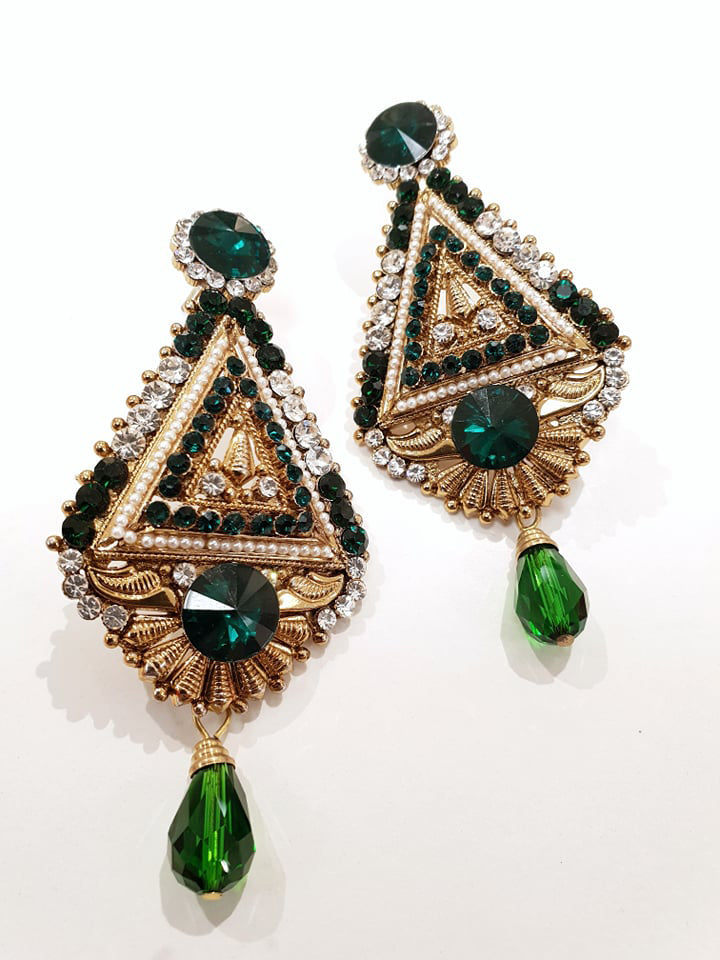 Green & Gold Stonework Earrings