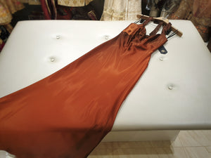 Satin bronze evening dress