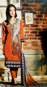 Orange Paisley Printed Kameez