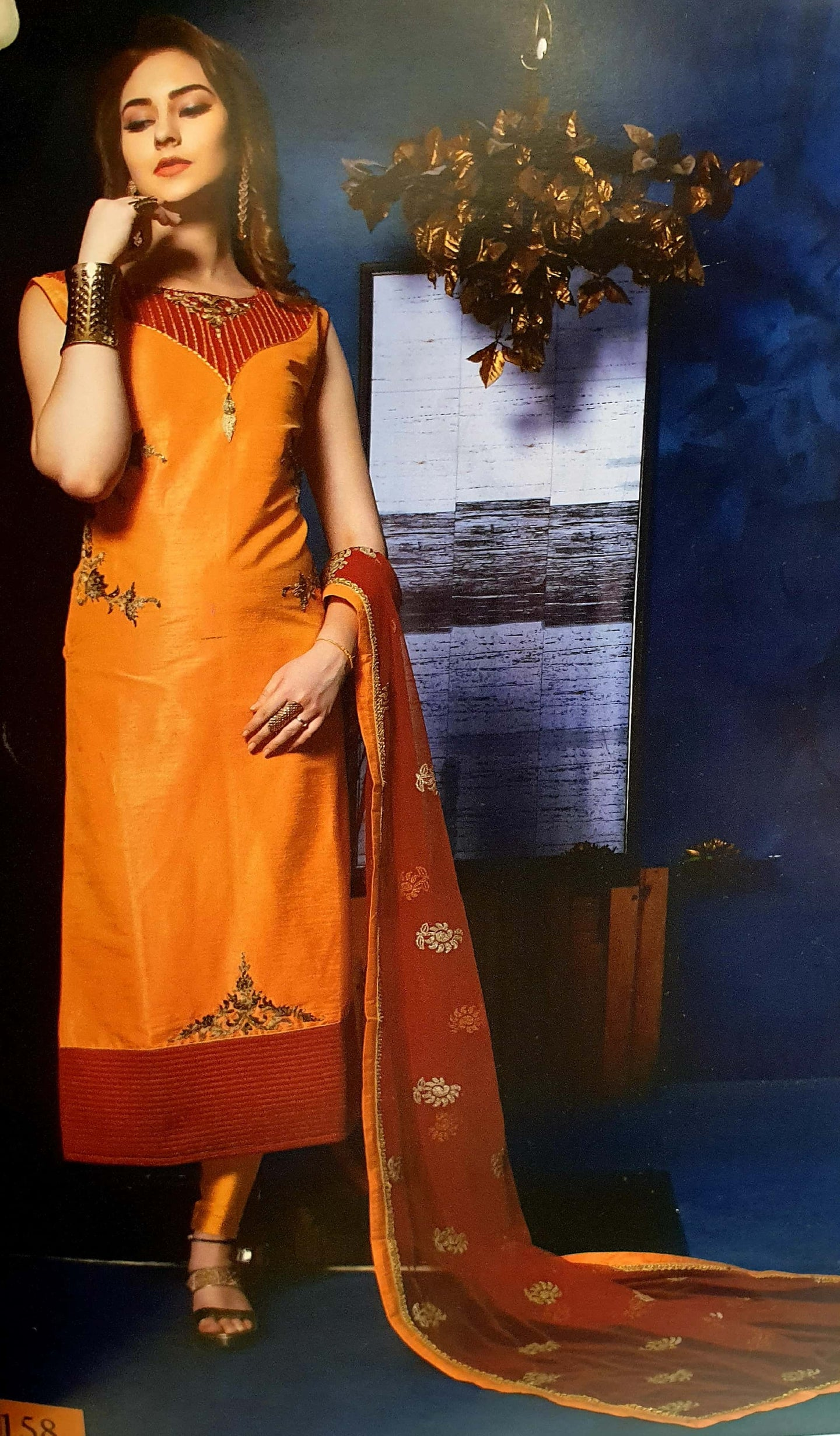 Peach & Red Silk Kameez