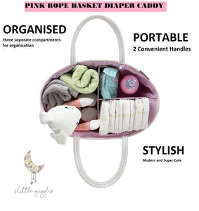 Diaper Caddy, Diaper Organizer, Baby Organizer, Rope Basket, Nursery Storage, Changing Table Organizer, Baby Diaper Caddy Organizer, Portable Diaper Storage, Baby Shower Gift, Toy Storage (Pink)