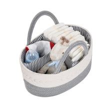 Load image into Gallery viewer, Baby Diaper Caddy, Diaper Organizer, Baby Organizer, Rope Basket, Nursery Storage, Changing Table Organizer, Baby Diaper Caddy Organizer, Portable Diaper Storage, Baby Shower Gift, Toy Storage (Grey)