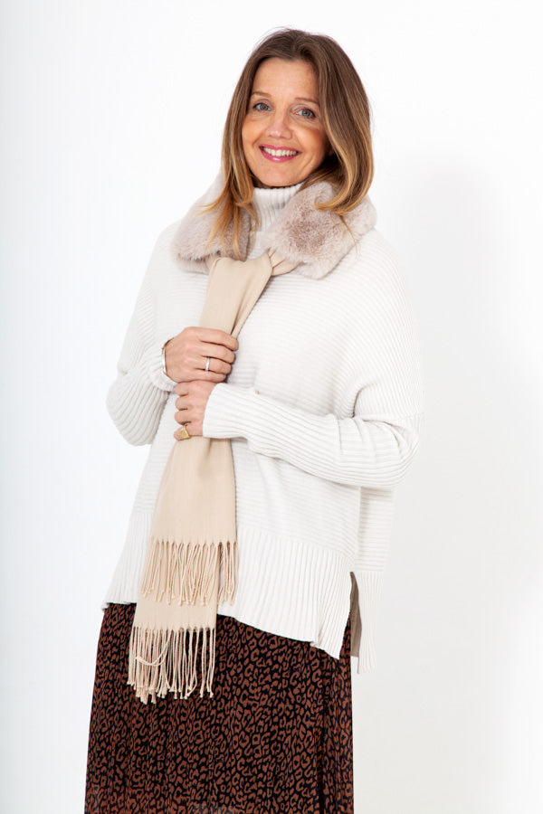 Faux Fur Neck Warmer with Detachable Scarf - Bird of Paradise London