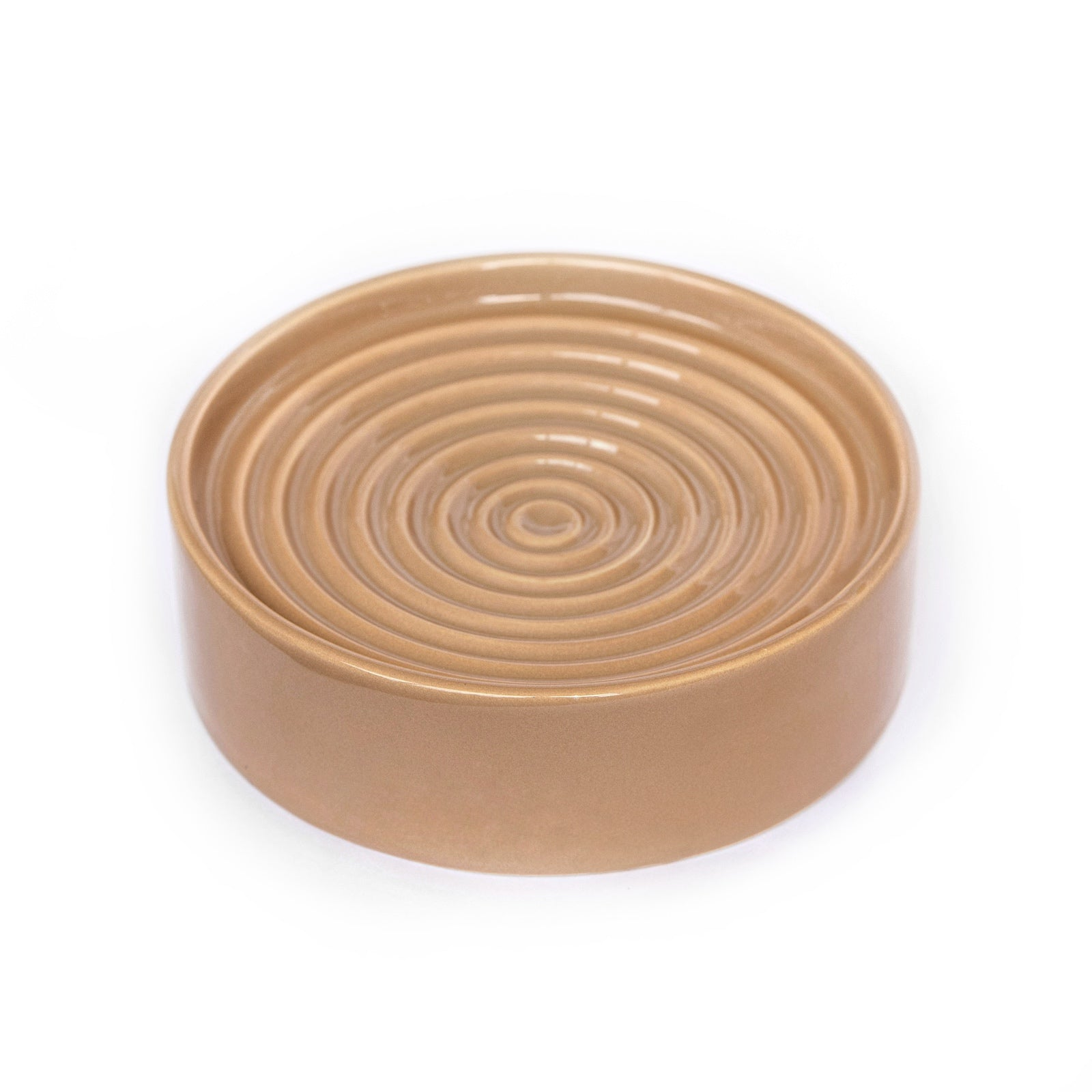 Noots Ceramic Whisker-friendly Slow Feed Cat Bowl in Hazelnut