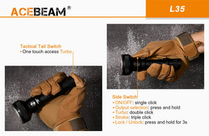 Acebeam L35 5000 High Lumens Tactical Flashlight, USB Rechargeable, New LatticePower LED Longer Beam Distance, Battery Included
