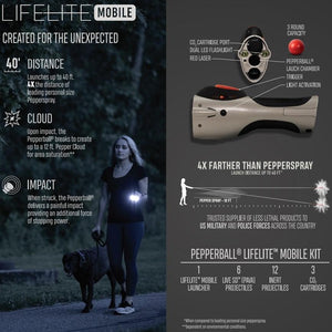 PepperBall LifeLite Launcher Mobile Edition, Powerful & Portable Non-Lethal Self Defense