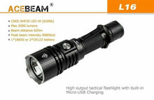 Load image into Gallery viewer, ACEBEAM L16 Handheld Security Flashlight LED 2000 Lumens, Rechargeable Battery