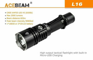 ACEBEAM L16 Handheld Security Flashlight LED 2000 Lumens, Rechargeable Battery