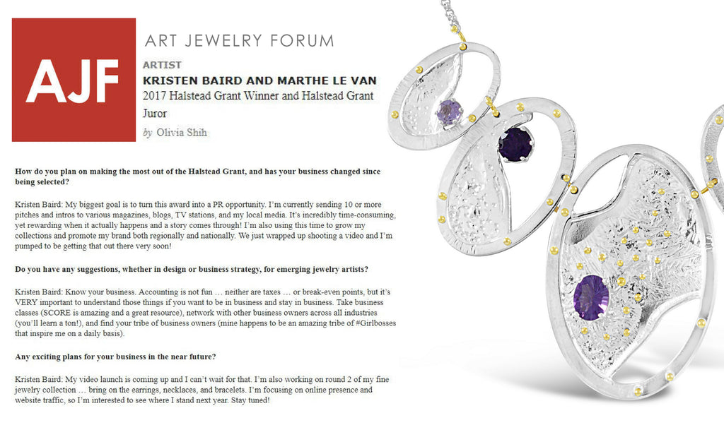 Art Jewelry Forum plus Kristen Baird for Halstead Grant 2017