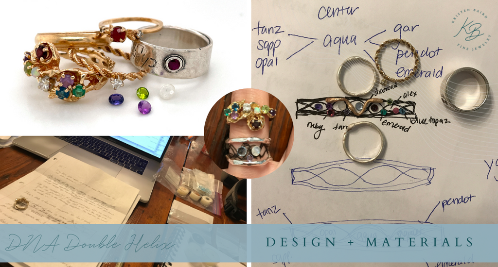 DNA Double Helix Ring Design + Materials_Commission by Kristen Baird®