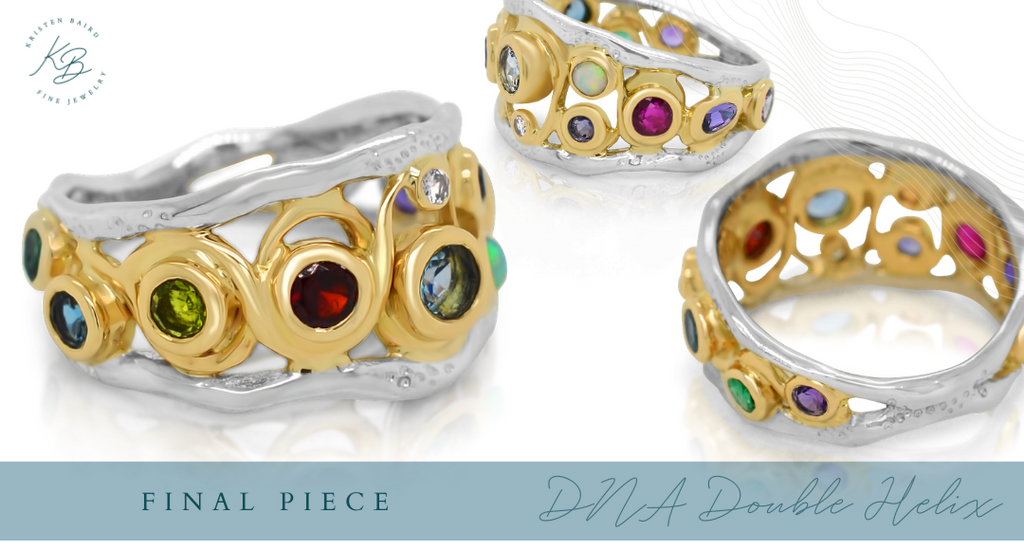 DNA Double Helix Ring Redesign_Final Piece_Commission by Kristen Baird®