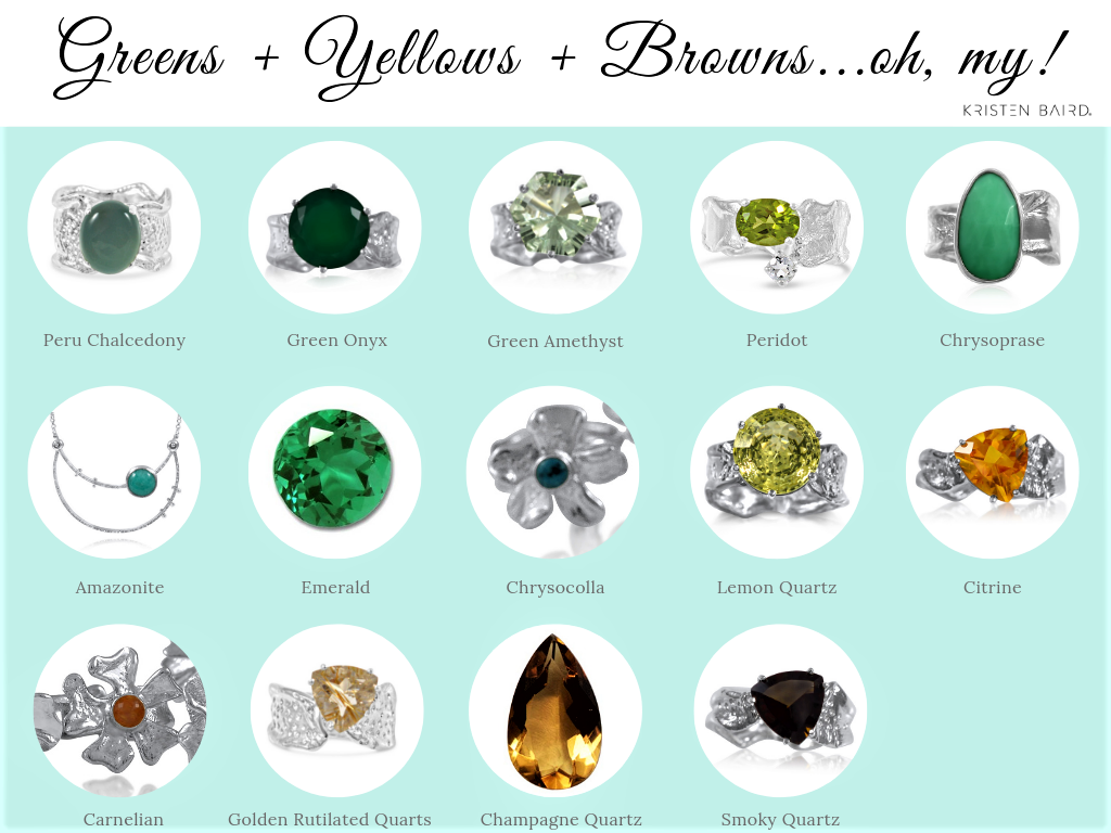 Green, Yellow + Brown Gemstones_Kristen Baird