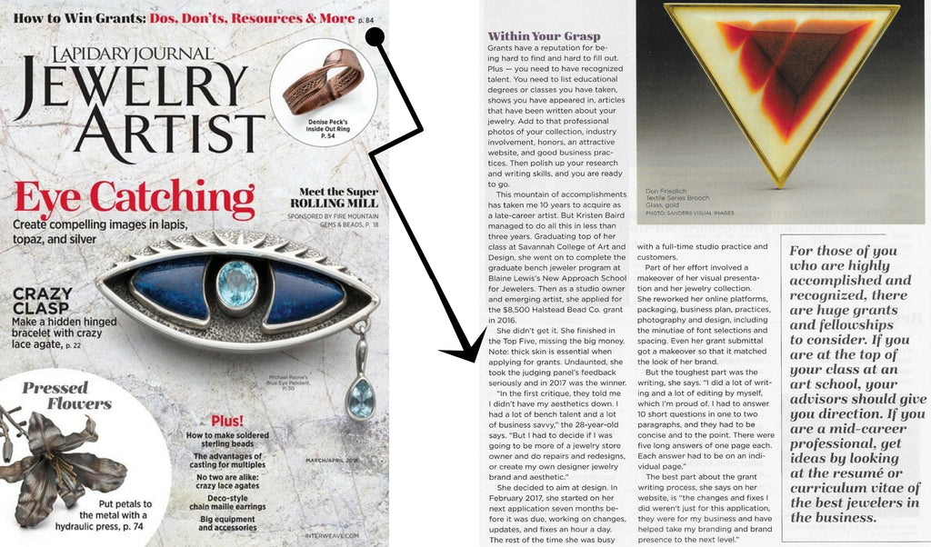 Lapidary Journal_Jewelry Artist_Kristen Baird_Article_March 2018