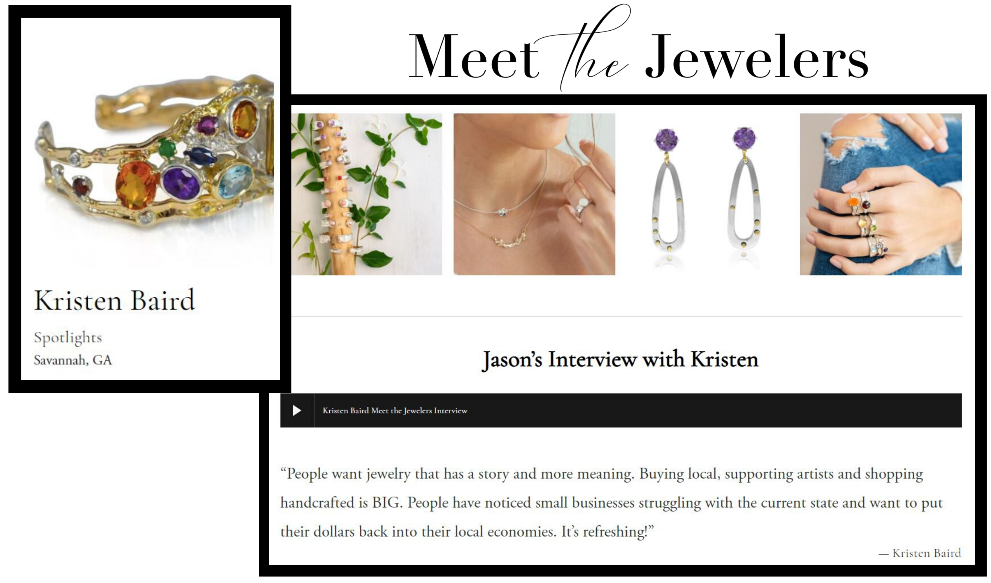 Meet the jewelers features Kristen Baird