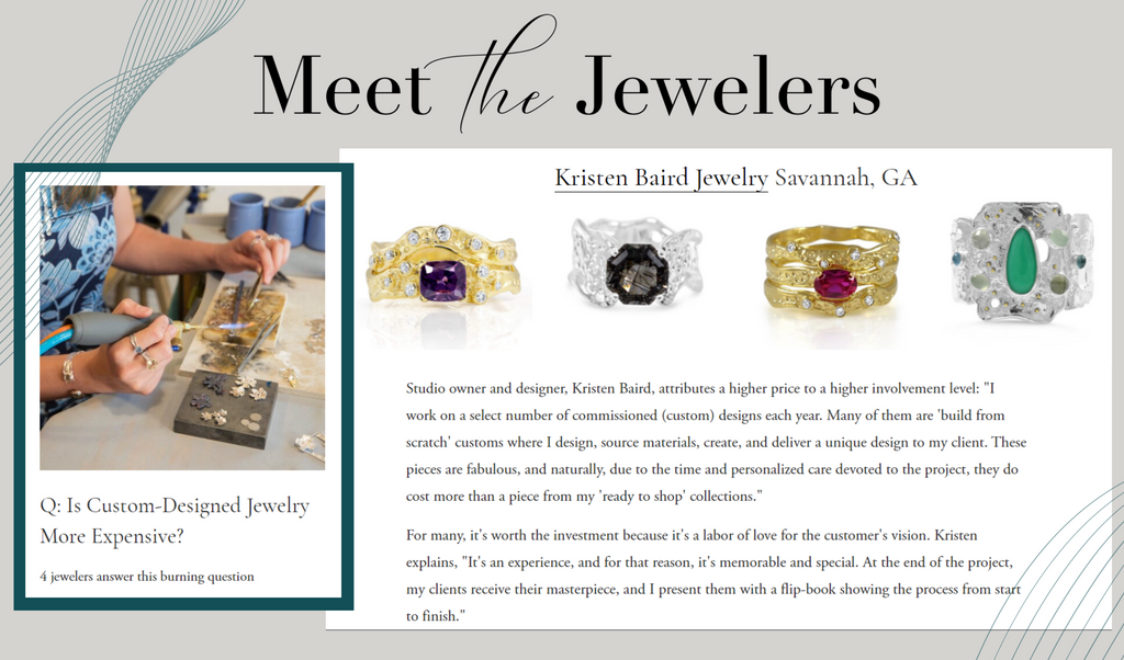 """Meet the Jewelers """"The Bench"""" Blog - Q: Is Custom-Designed Jewelry More Expensive?_Kristen Baird®"""