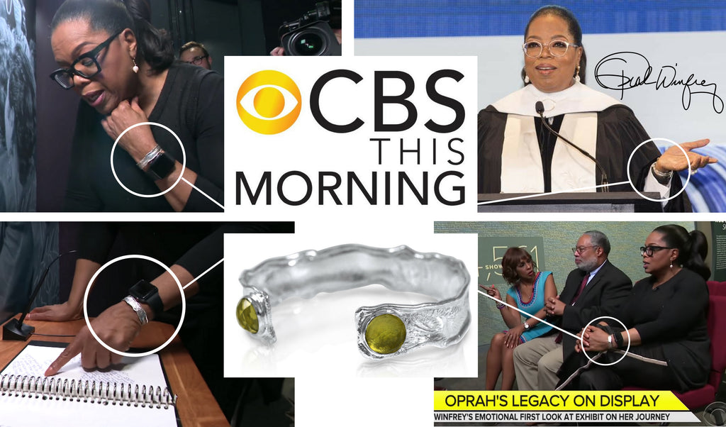 Oprah wears a Kristen Baird® Splash Cuff on CBS This Morning