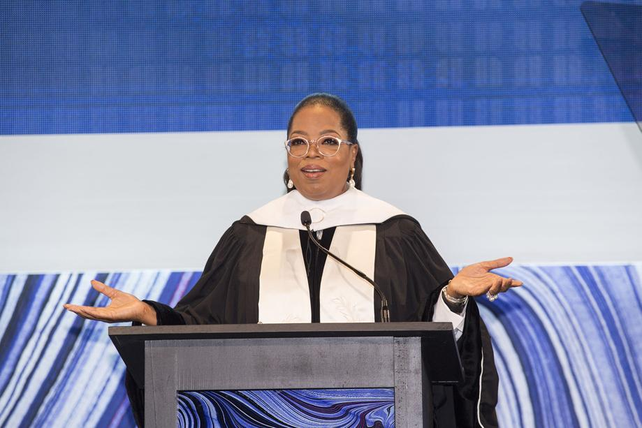 Oprah Winfrey at SCAD Graduation wearing a Kristen Baird Splash Cuff
