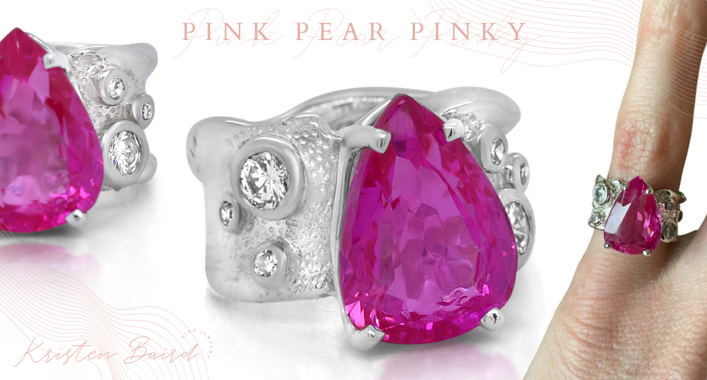 Pink Pear Pinky Ring Redesign by Kristen Baird® Jewelry