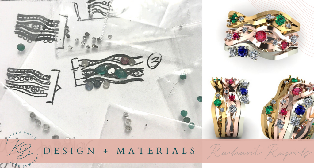 Radiant Ring Stack Design + Materials - Commission by Kristen Baird®