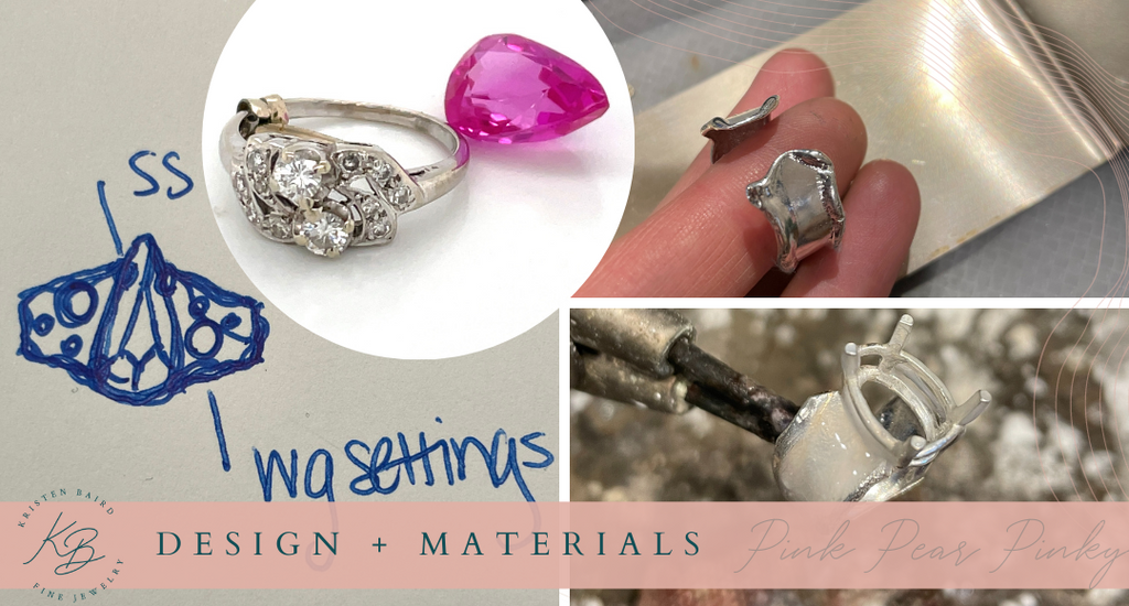 Pink Pear Pinky Ring Design + Materials_Commission by Kristen Baird®