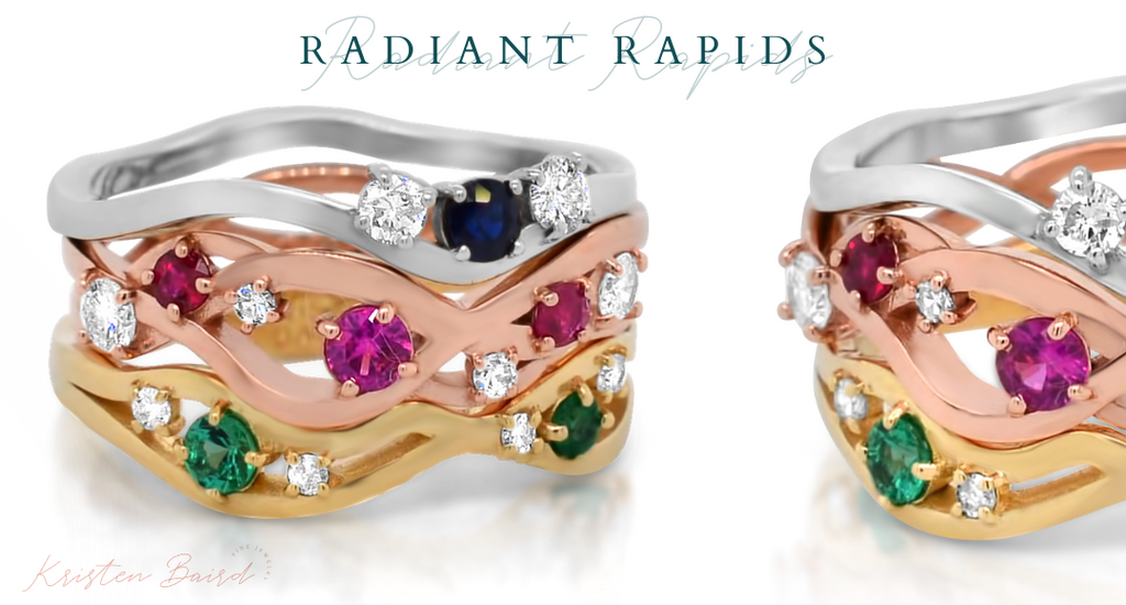 Radiant Rapids Ring Stack Redesign - Commission by Kristen Baird®