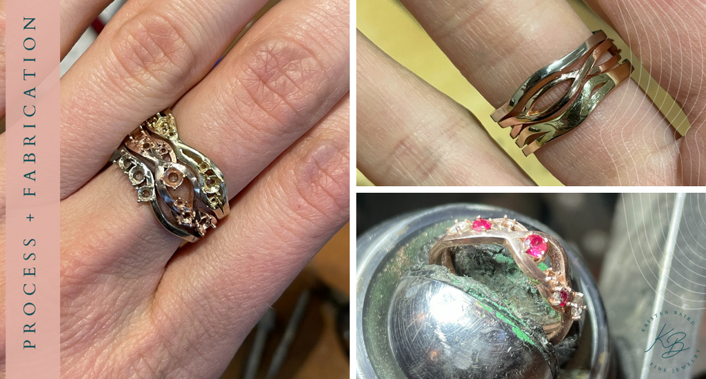 Radiant Rapids Ring Stack Process + Fabrication - Commission by Kristen Baird®