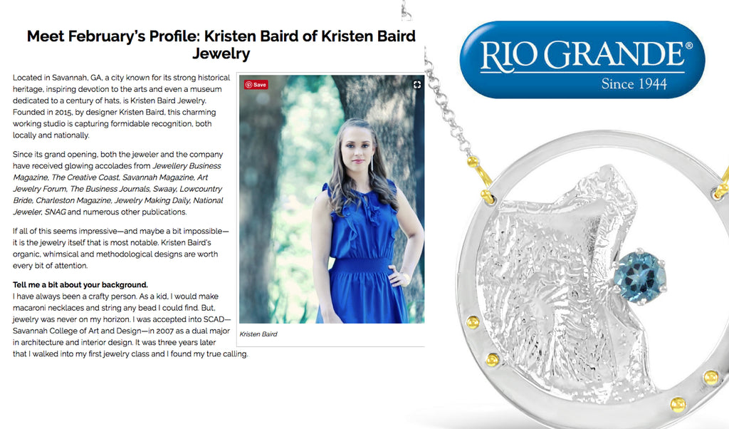 Rio Pro Newsletter with Kristen Baird Jewelry Designer