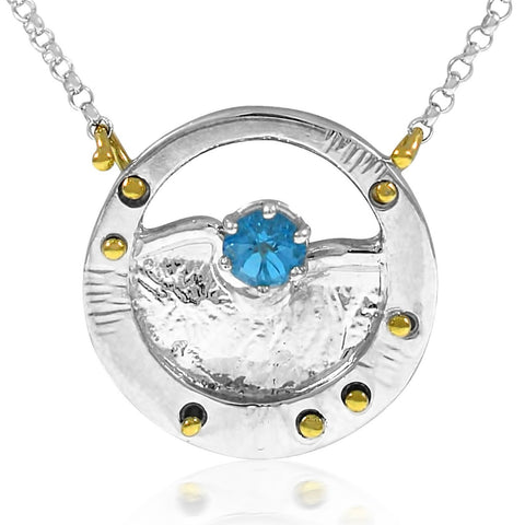 Mini Pinnacle Necklace Blue Topaz