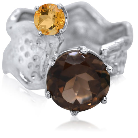 10mm Round Cut Ripple Ring Duo_Smoky Quartz_Citrine_Kristen Baird®