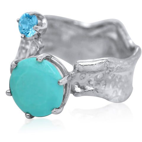 10mm Round Cut Ripple Ring Duo_Turquoise+Blue Topaz_Kristen Baird®