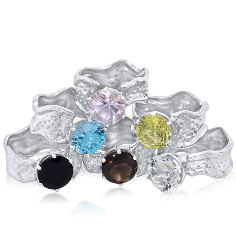 10mm Round Cut Ripple Rings_Onyx, Sky Blue Topaz, Pink Amethyst, Smoky Quartz, Lemon Quartz, White Topaz_Kristen Baird Jewelry