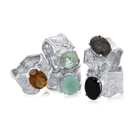10x12mm Oval Cut Ripple Ring - Whisky Quartz, Green Amethyst, Peru Chalcedony, Rutilated Quartz, Onyx_Kristen Baird Jewelry