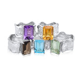 10x14mm Emerald Cut Ripple Ring - Smoky Quartz, Amethyst, Blue Topaz, Citrine, Green Amethyst - Kristen Baird