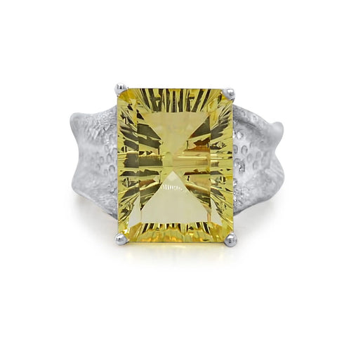 12x16mm Emerald Cut Ripple Ring_Lemon Quartz_Kristen Baird®