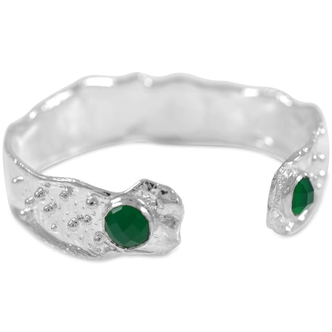 15mm Splash Cuff with Granules - 2 Stone Green Onyx by Kristen Baird®