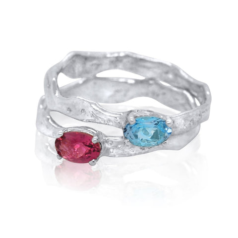 4x6 East-West Oval Cut Ripple Rings_Rhodalite Garnet_Aquamarine_Kristen Baird®
