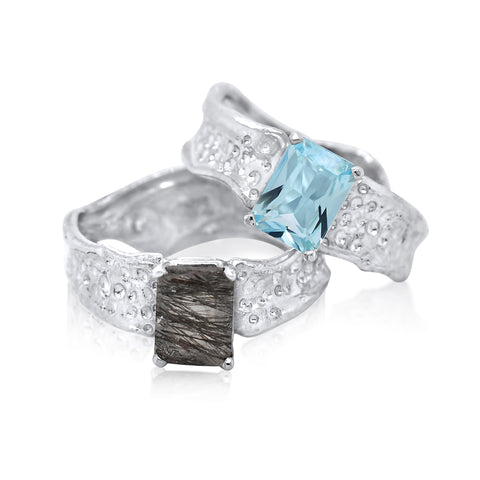 6x8mm Emerald Cut Ripple Rings_Rutilated Quartz-Sky Blue Topaz_by Kristen Baird®
