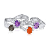 7x9mm Oval Cut Ripple Rings_Rutilated Quartz+Brazilian Amethyst+African Amethyst+Carnelian_Kristen Baird®