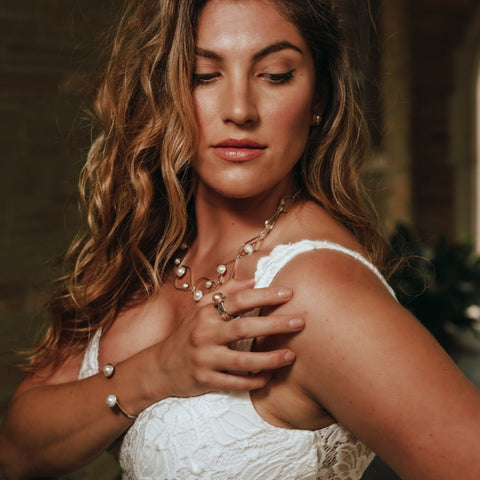 Luminous Statement Necklace on Bride Model_Kristen Baird®