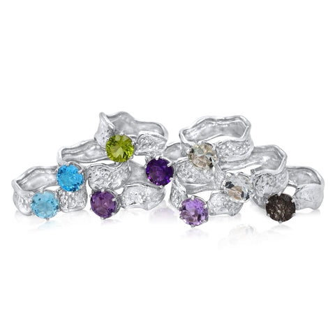 8mm Round Cut Ripple Rings with Sky Blue Topaz, Swiss Blue Topaz, Brazilian Amethyst, African Amethyst, Pink Amethyst, Peridot, Green Amethyst, White Topaz, Rutilated Quartz_Kristen Baird®