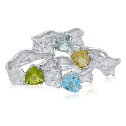 8mm Trillion Cut Ripple Ring-Peridot_Green Amethyst_Sky Blue Topaz_Citrine-Kristen Baird Jewelry