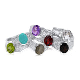 8x10mm Oval Cut Ripple Ring - Peridot, Turquoise, Amethyst, Labradorite, Garnet, Rutilated Quartz, Onyx_Kristen Baird Jewelry