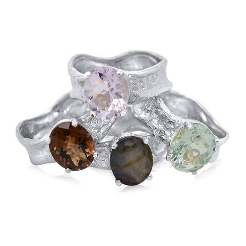 9x11mm Oval Cut Ripple Ring-Smoky Quartz_Pink Amethyst_Labradorite_Green Amethyst-Kristen Baird Jewelry