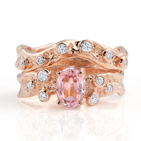 Kristen Baird Rose Gold Alternative Engagement Ring with Pink Tourmaline and Diamonds Set