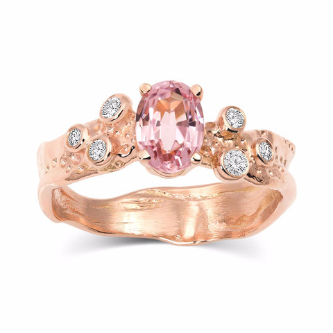Kristen Baird Rose Gold Alternative Engagement Ring with Pink Tourmaline and Diamonds