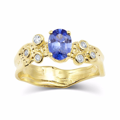 Kristen Baird Yellow Gold Alternative Engagement Ring with Sapphire and Diamonds