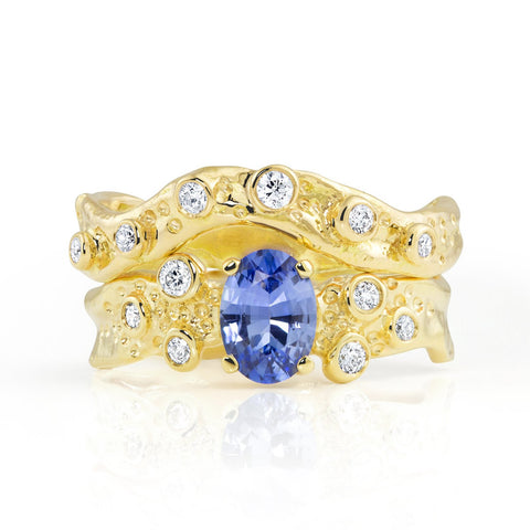 Kristen Baird Yellow Gold Alternative Engagement Ring with Sapphire and Diamonds Set