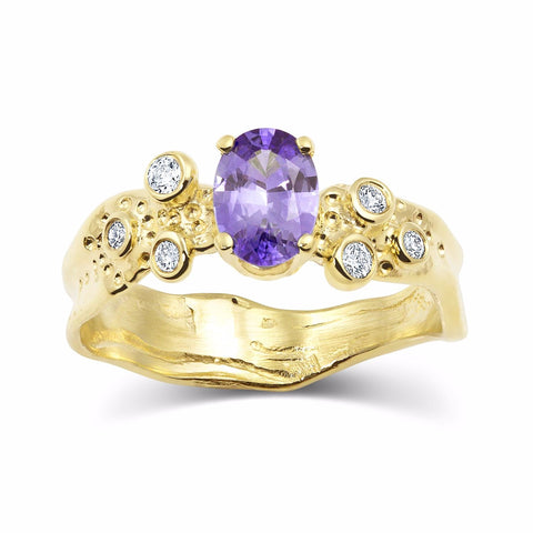 Kristen Baird Yellow Gold Alternative Engagement Ring with Violet Sapphire and Diamonds