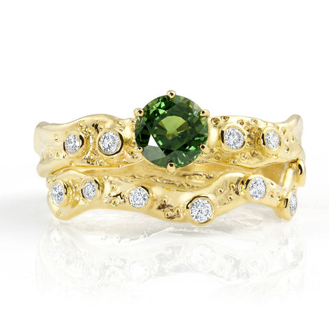 Kristen Baird Yellow Gold Alternative Engagement Ring with Green Sapphire and Diamonds Set